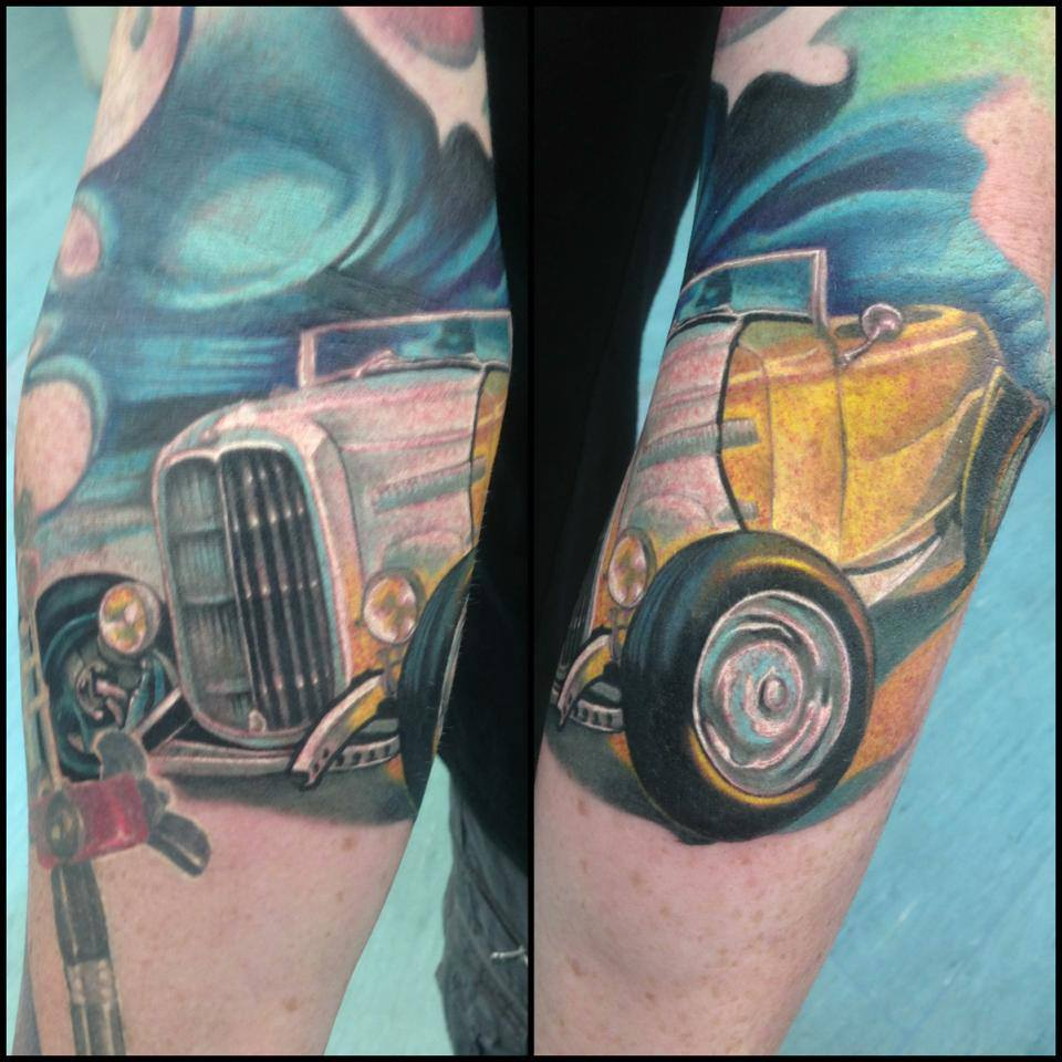 Cool Old Royal Royce Car Tattoo On Left Sleeve By Fabz