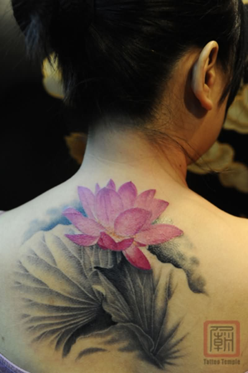 Cool Pink Ink Lotus Flower Tattoo On Girl Back Neck By Joey Pang