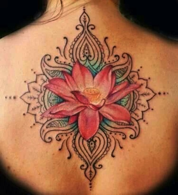 Cool Pink Ink Lotus Flower Tattoo On Girl Upper Back