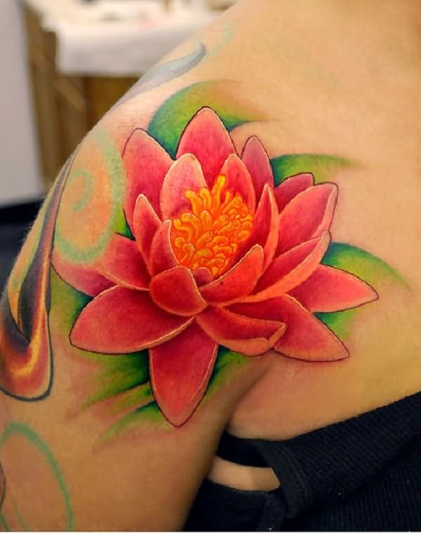 Cool Pink Ink Lotus Flower Tattoo On Right Shoulder