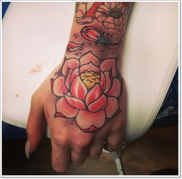 Cool Pink Ink Lotus Tattoo On Left Hand