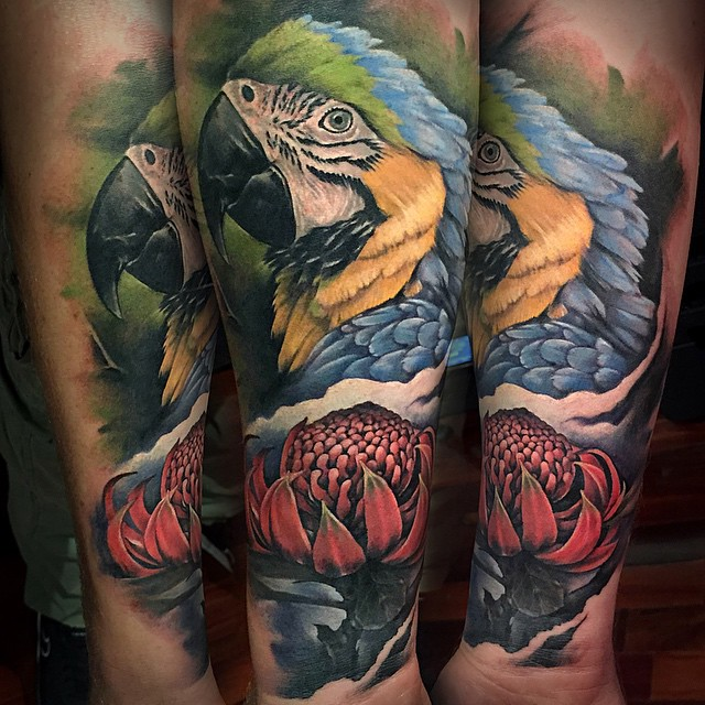 Cool Realistic Parrot Tattoo On Forearm By Benjamin Laukis