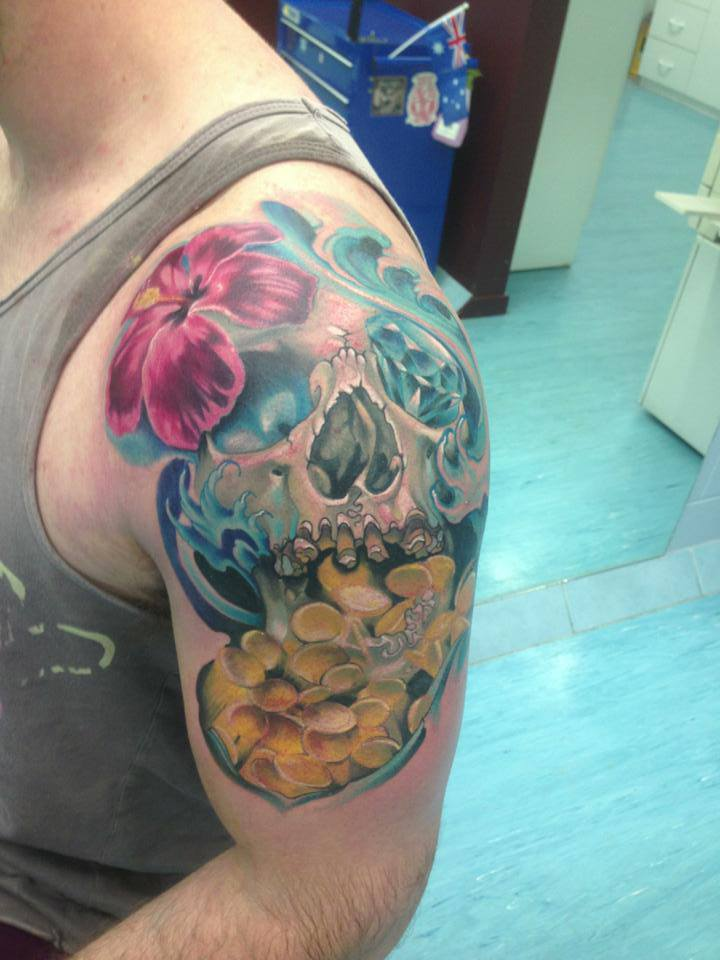 Cool Skull With Flowers Tattoo On Man Left Shoulder By Fabz