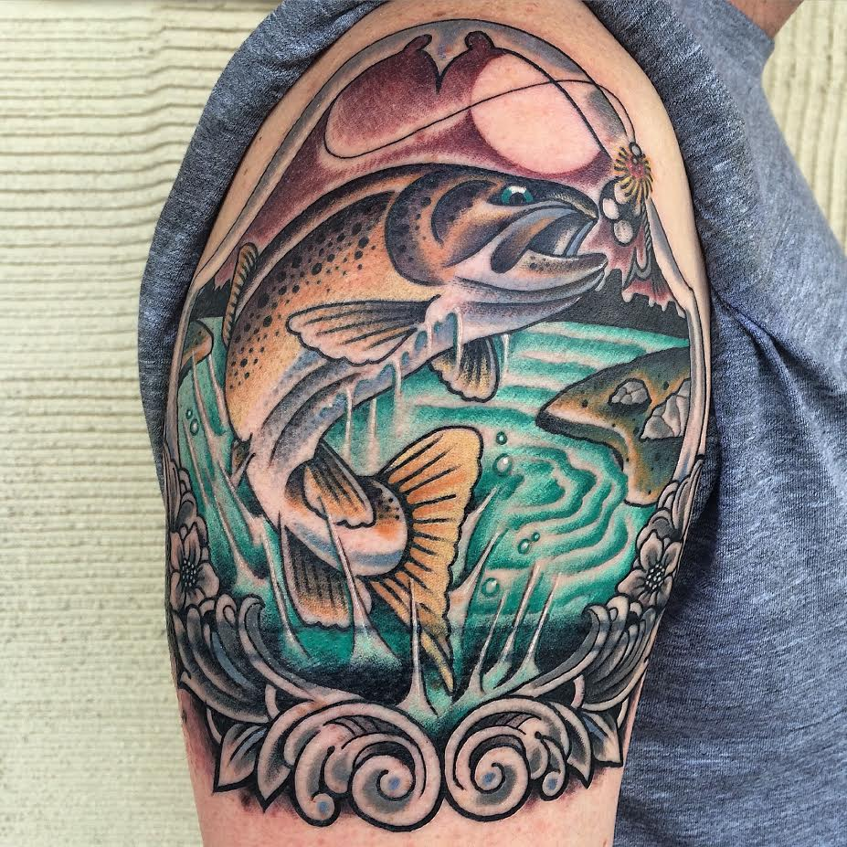 Cool Traditional Fish In Frame Tattoo On Man Right Shoulder By Justin Brooks
