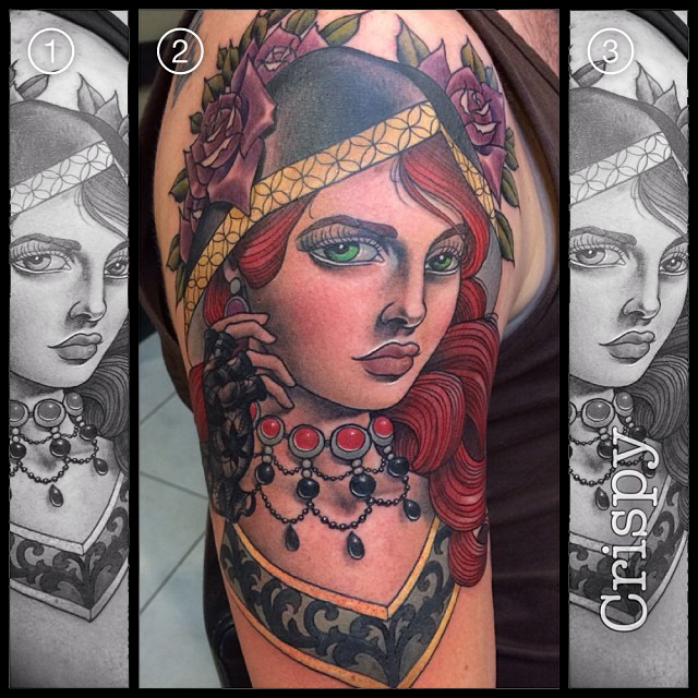 Cool Traditional Girl Face Tattoo On Right Half Sleeve By Crispy Lennox
