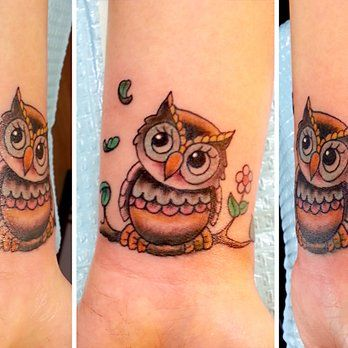 Cool Traditional Owl On Branch Tattoo On Wrist By Joe Paul