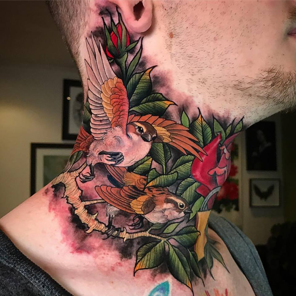 Cool Two Flying Birds With Roses Tattoo On Man Right Side Neck By Crispy Lennox