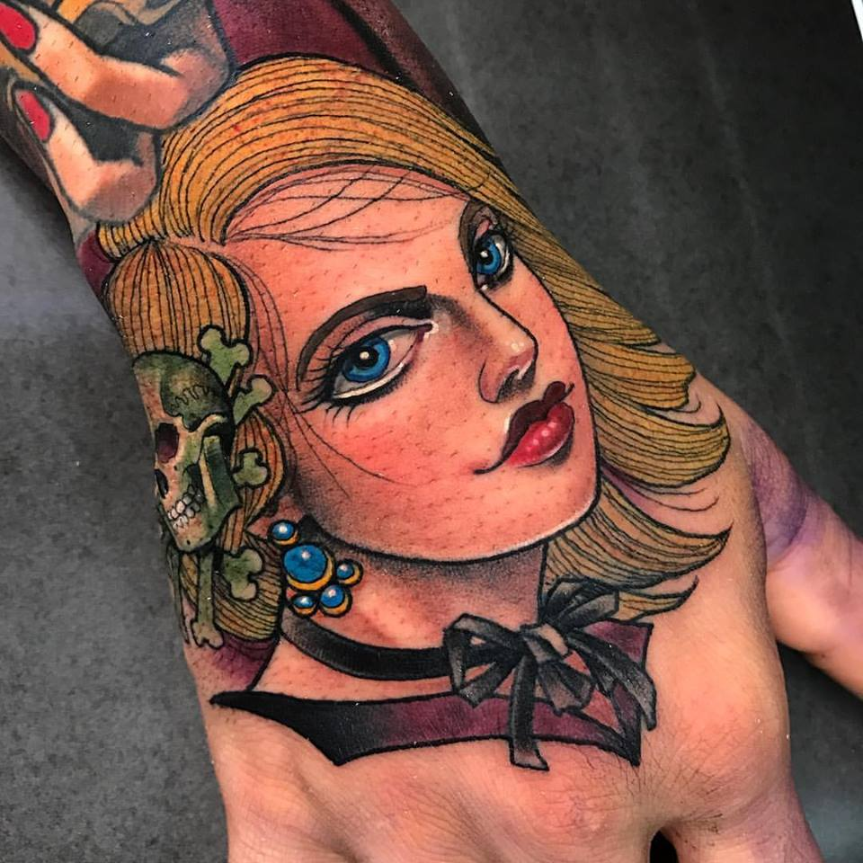 Cool Women Head Tattoo On Right Hand By Crispy Lennox