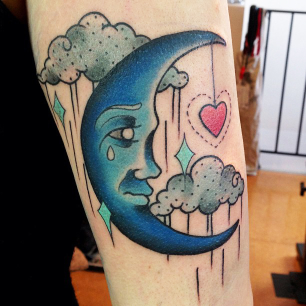 Crying Half Moon With Heart Tattoo On Sleeve By Kitty Dearest