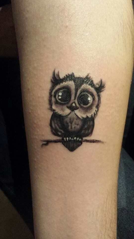 Cute Black Ink Owl Tattoo Design For Wrist