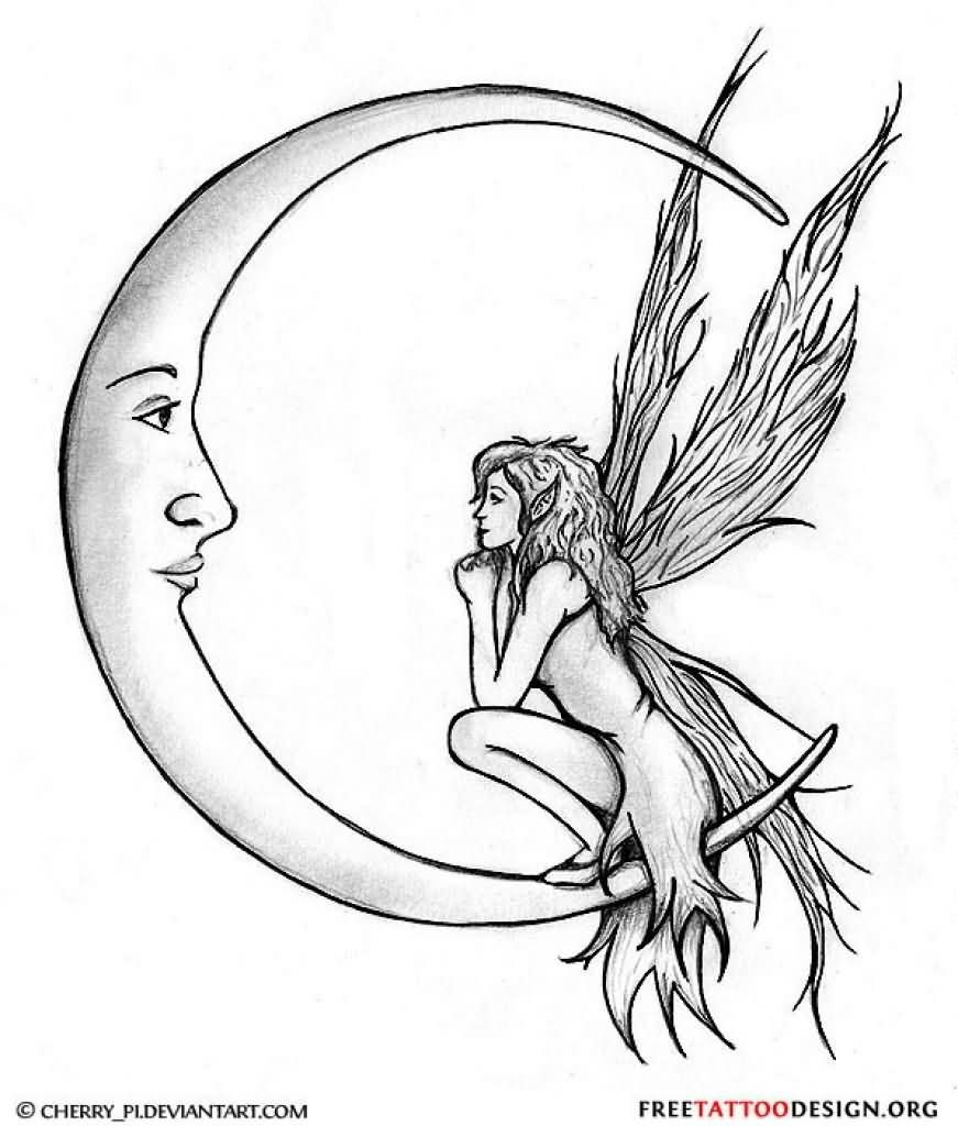 Cute Grey Ink Half Moon With Fairy Tattoo Design