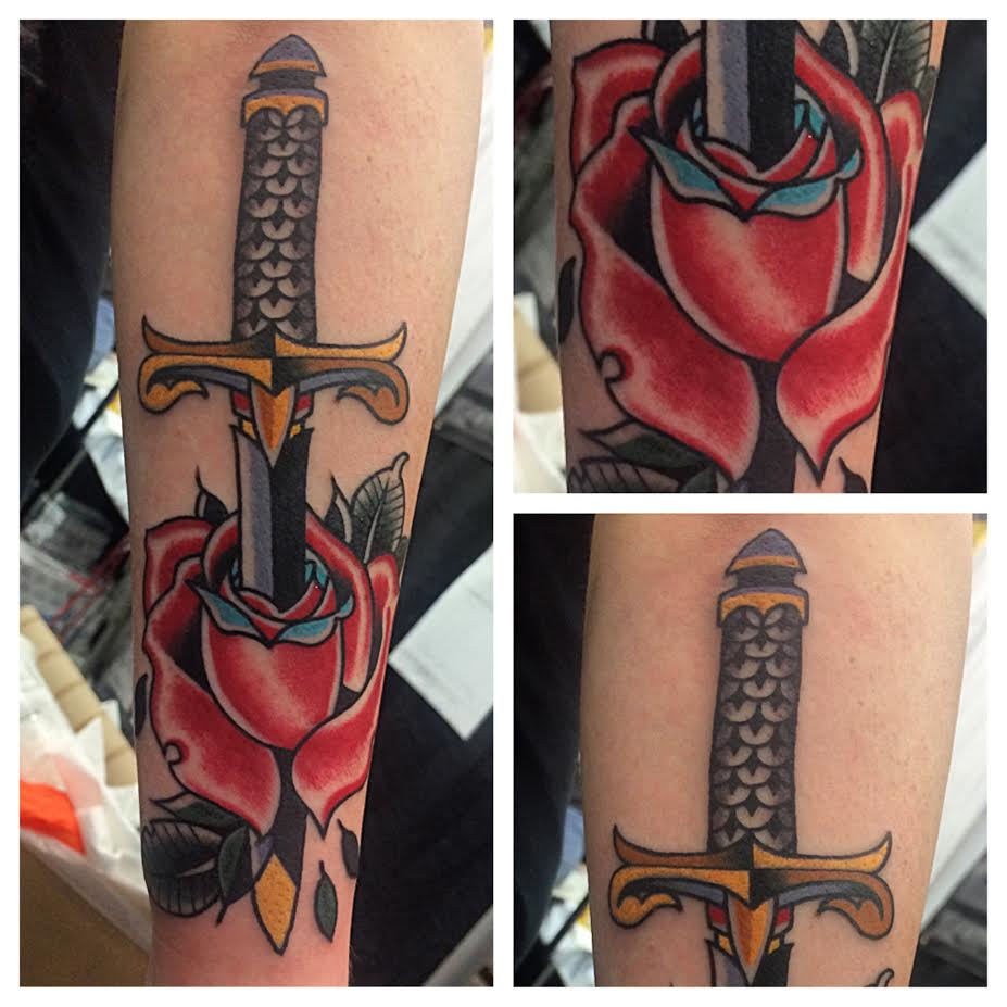 Dagger In Rose Tattoo On Forearm By Justin Brooks