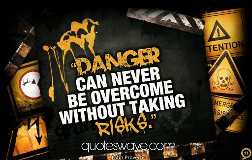 Danger can never be overcome without taking risks
