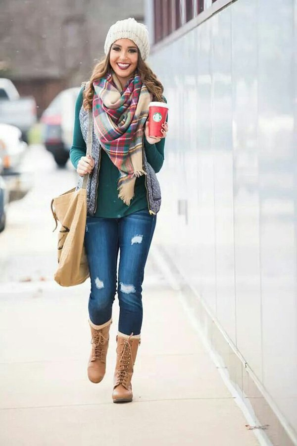 Denim-distressed-jeans-turquoise-colored-top-plaid-scarf-white-creme-beanie