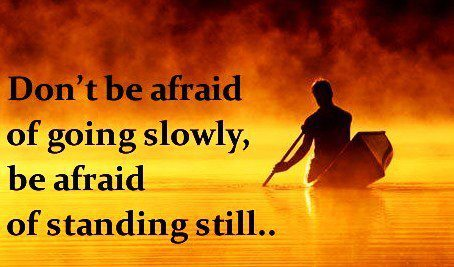 Don't be afraid of going slowly, be afraid only of standing still