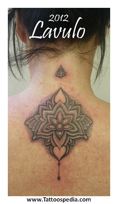 Dotwork Mandala Flower Tattoo On Girl Back Neck