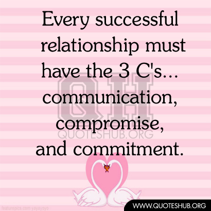 Every successful relationship must have the 3 C's...communication, compromise, and commitment