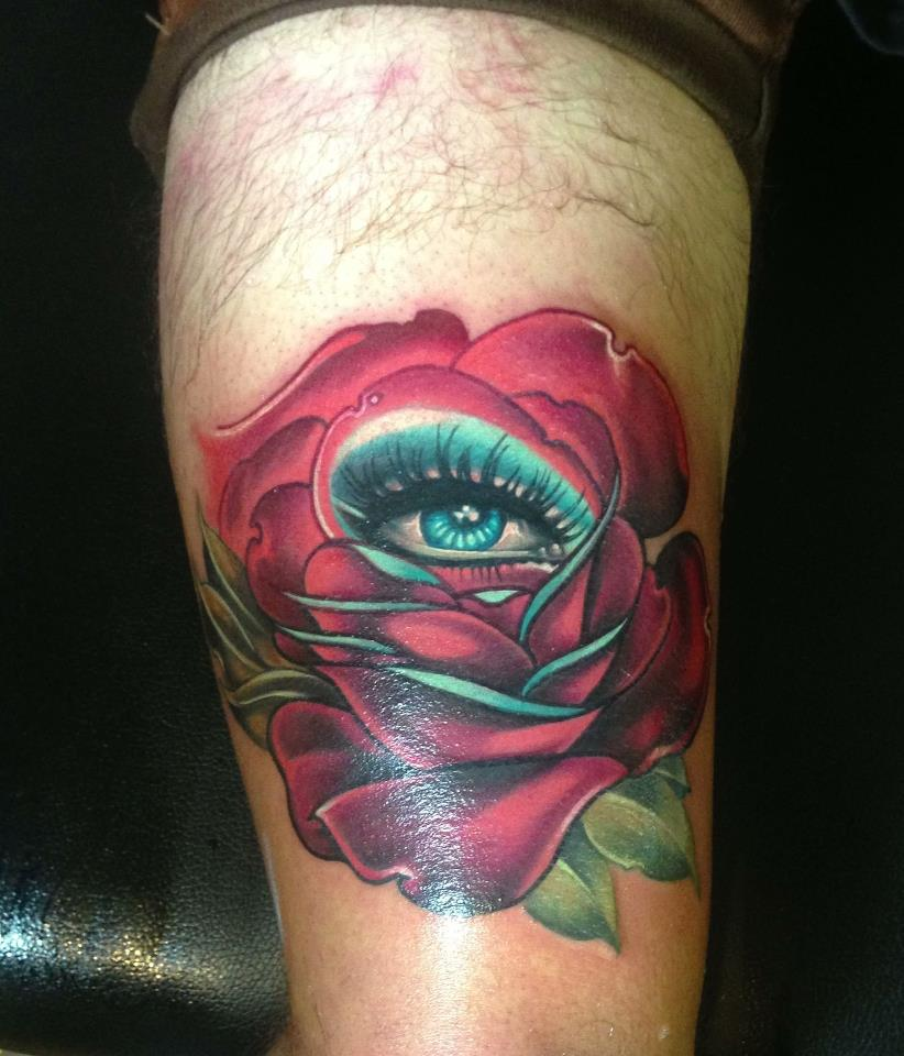 Eye In Rose Tattoo On Right Thigh By Fabz