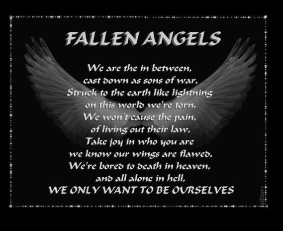 Fallen Angels. Scream, shout. Scream, shout, We are the fallen angels. We are the in between, cast down as sons of war. Struck to the earth like lightning, on this world we're torn....