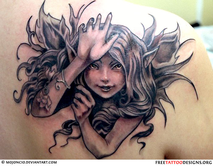 Fantastic Black Ink Fairy Tattoo On Right Back Shoulder