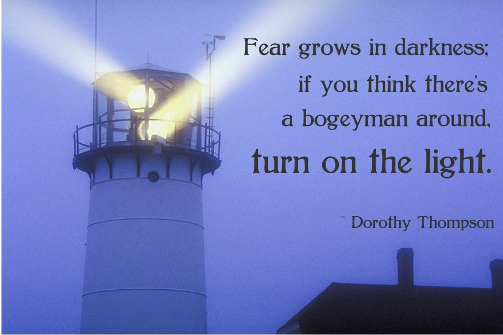 Fear grows in darkness; if you think there's a bogeyman around, turn on the light. Dorothy Thompson