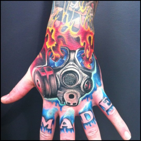 Gas Mask Tattoo On Left Hand By Fabz