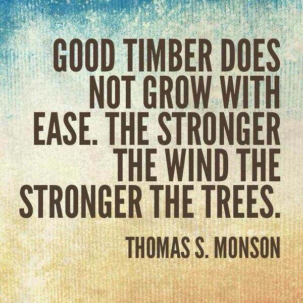 Good timber does not grow with ease; the stronger the wind, the stronger the trees. Thomas S. Monson