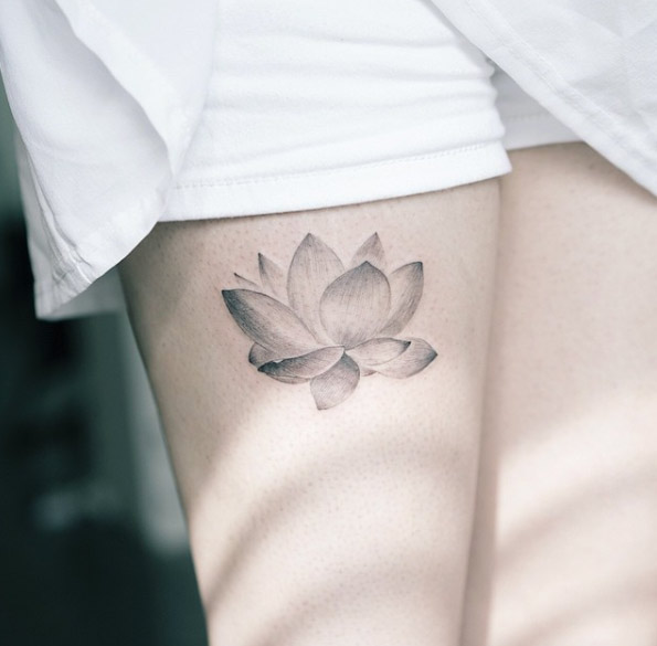 Grey Ink Lotus Flower Tattoo Design For Sleeve By Sol