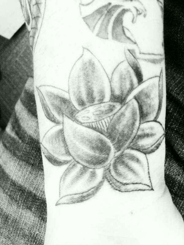 Grey Ink Lotus Flower Tattoo Design For Sleeve