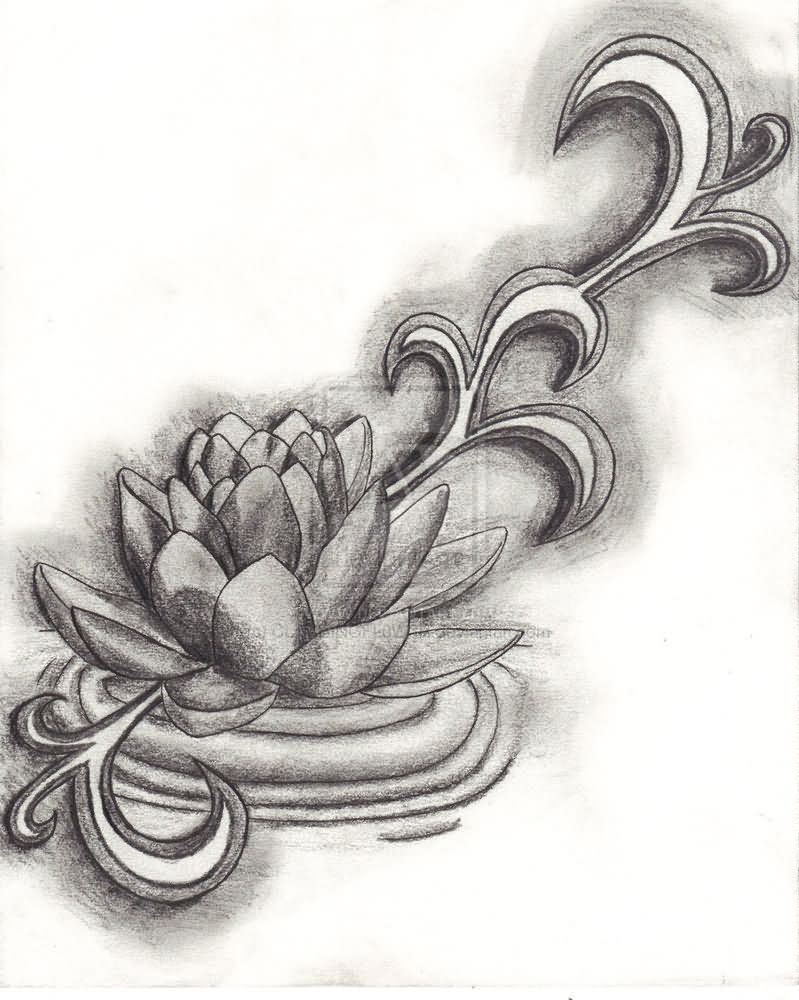 Grey Ink Lotus Flower Tattoo Design