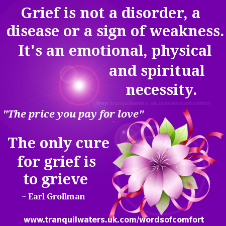 Grief is not a disorder, a disease or a sign of weakness. It is an emotional, physical and spiritual necessity, the price you pay for love. The only cure for grief is to ... Earl Grollman