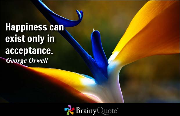 Happiness can exist only in acceptance. George Orwell