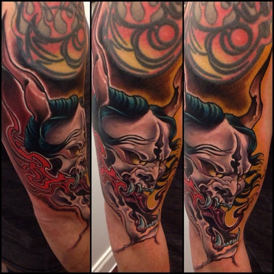 Horror Demon Face Tattoo On Man Right Half Sleeve By Fabz