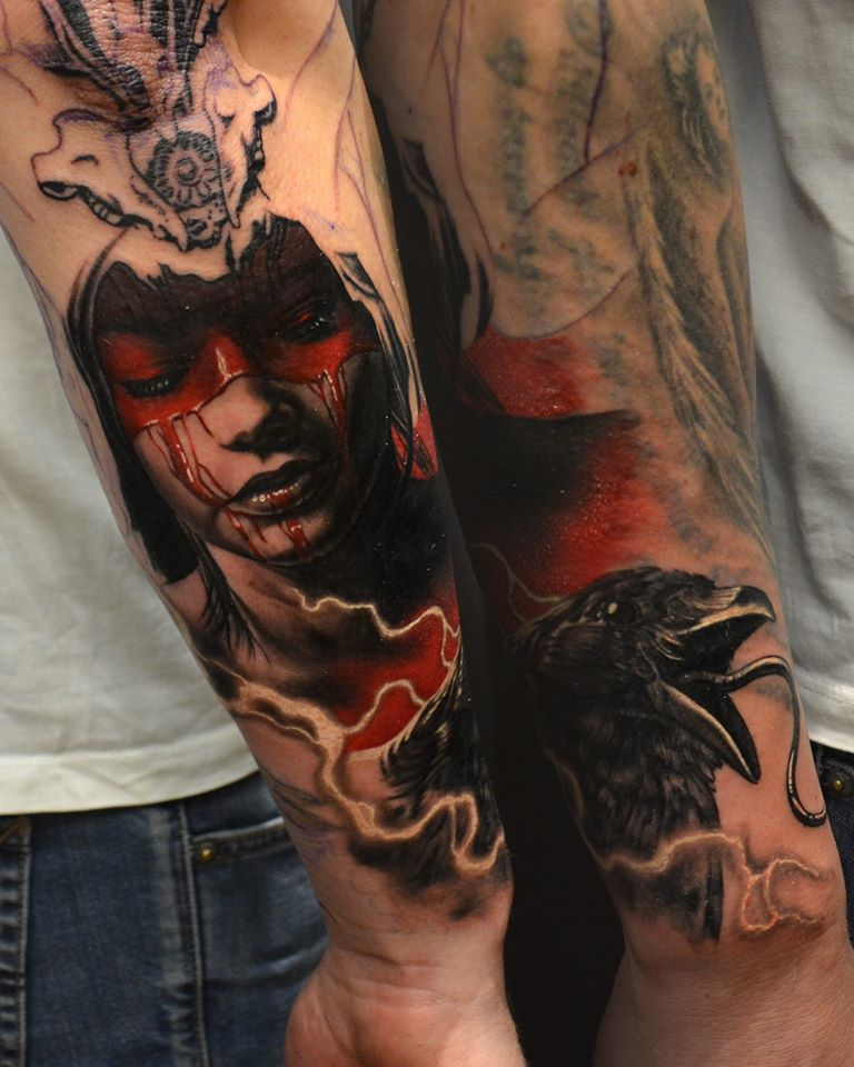 Horror Girl Face Tattoo On Man Right Arm By Hokowhitu Sciascia