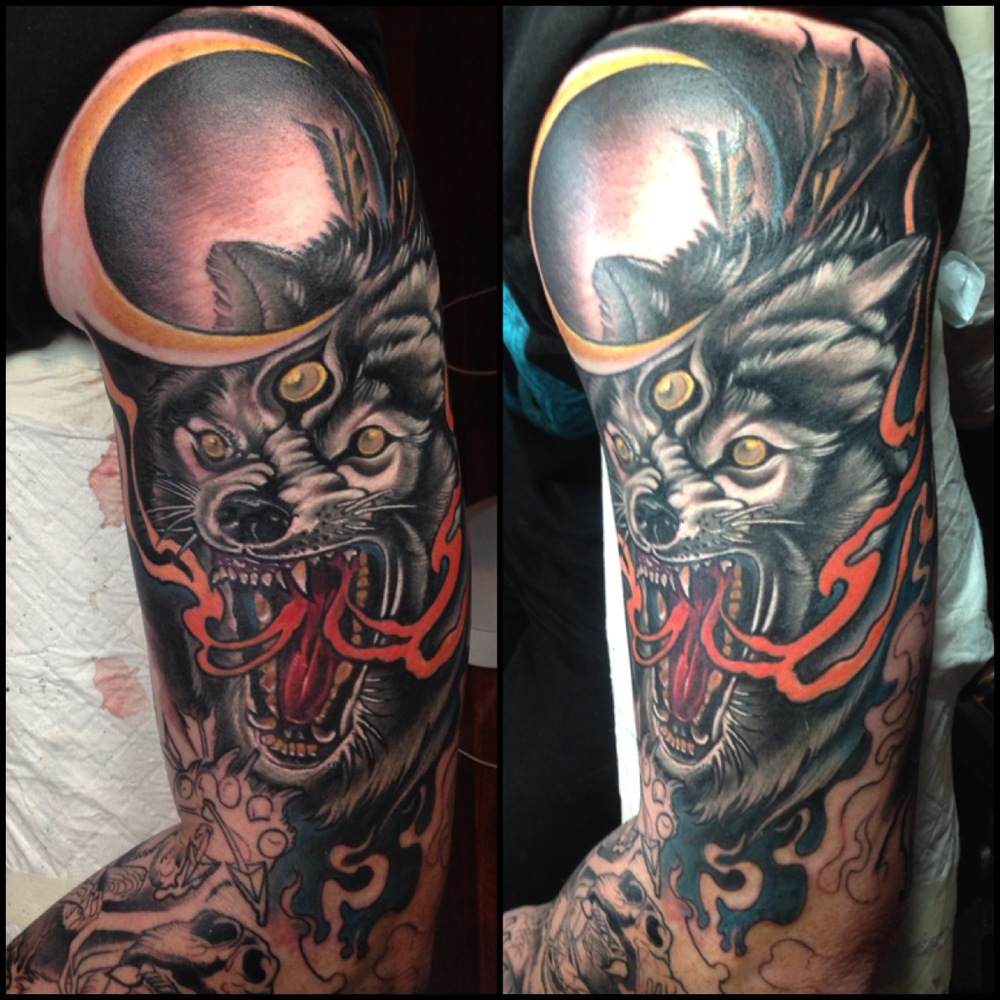 Horror Third Eye Wolf Tattoo On Left Half Sleeve By Fabz