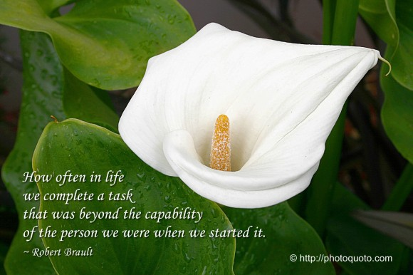 How often in life we complete a task that was beyond the capability of the person we were when we... - Robert Breault