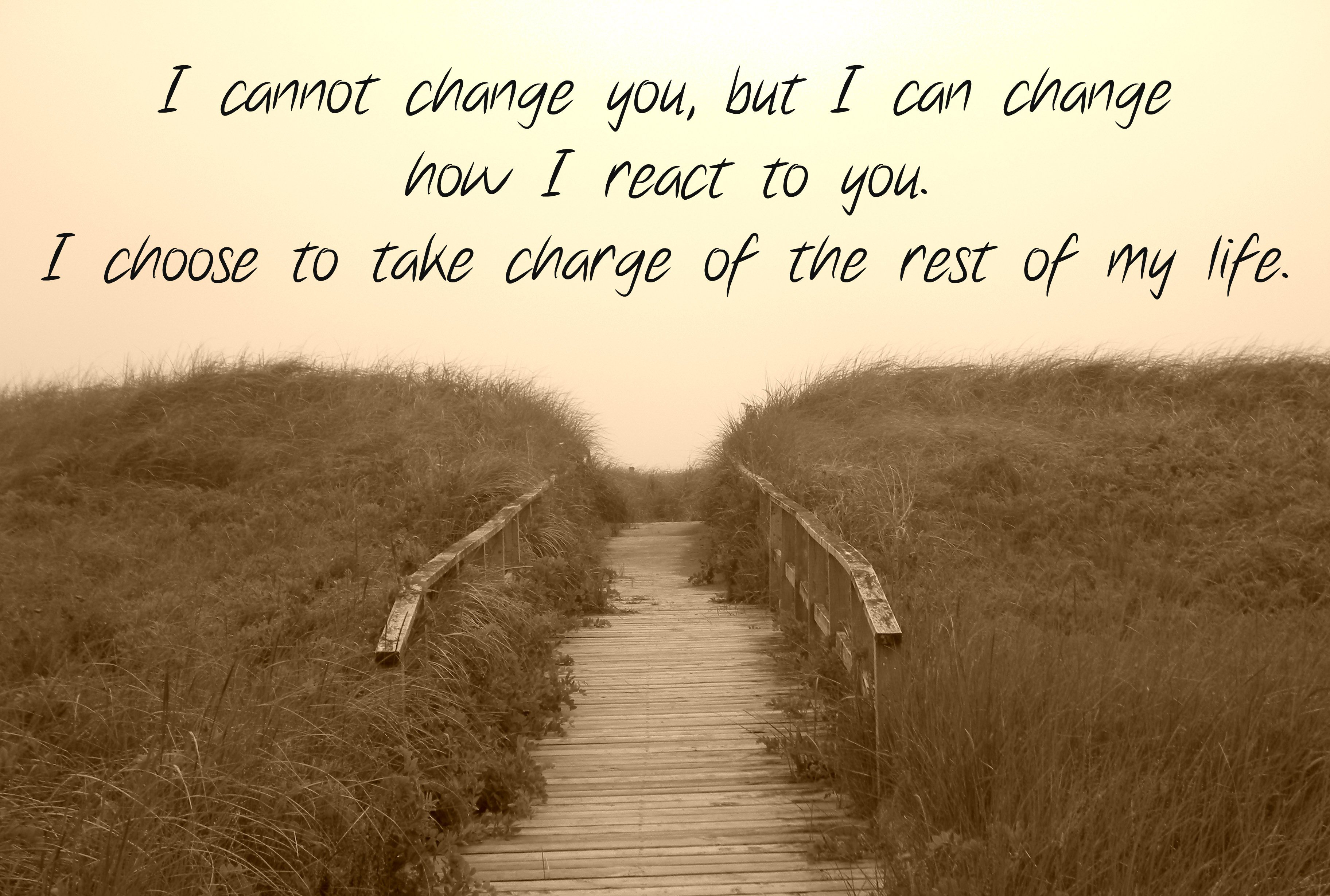 I Cannot Change You But I Can Change Now I React To You I Choose To Take Charge Of The Rest Of My Life