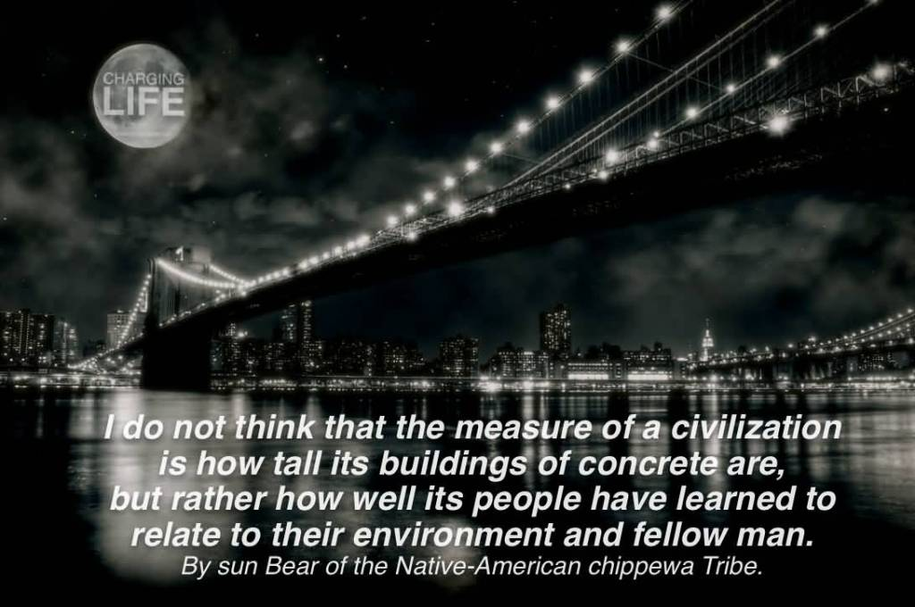 I do not think that the measure of a civilization is how tall its buildings of concrete are, but rather how well its people have learned to relate to their environment ...