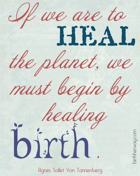 If we are to heal the planet, we must begin by healing birth. Agnes Sallet Von Tonnenberg