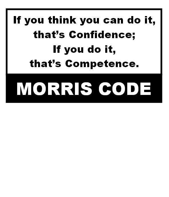 If you think you can do something, that's confidence. If you can do it, that's competence