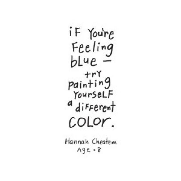 If you're feeling blue try pointing yourself a different color. Hannah Cheatem