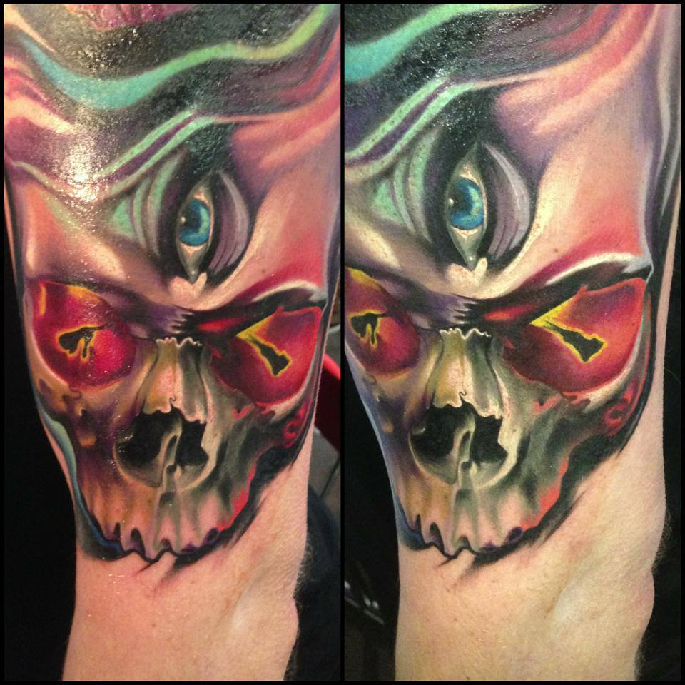 Impressive Third Eye Skull Tattoo On Left Half Sleeve By Fabz