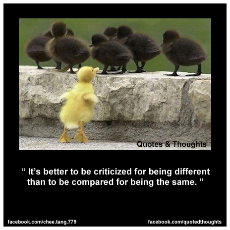 It's better to be criticized for being different than to be compared for being the same.