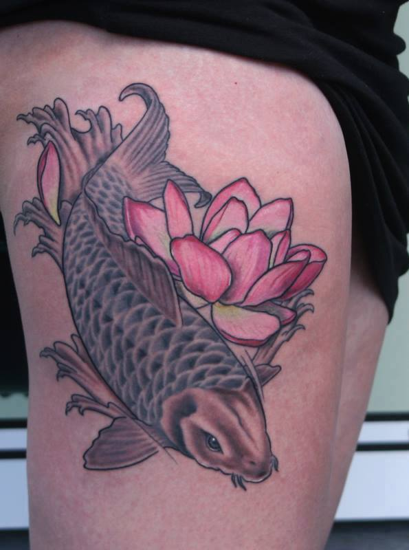 Koi Fish With Lotus Flower Tattoo On Right Thigh By Anders Grucz