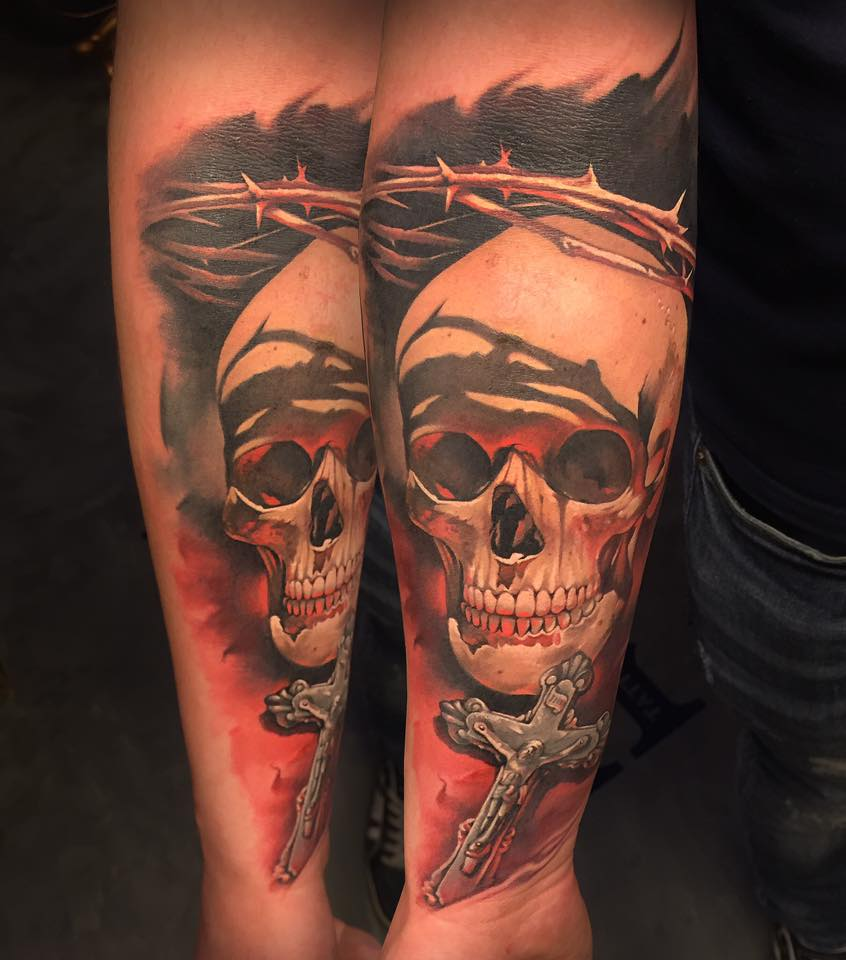 Latest 3D Skull With Cross Tattoo On Left Forearm By Benjamin Laukis