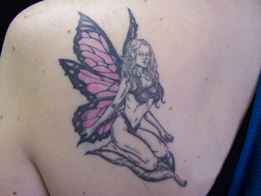 Latest Cool Fairy Tattoo On Left Back Shoulder