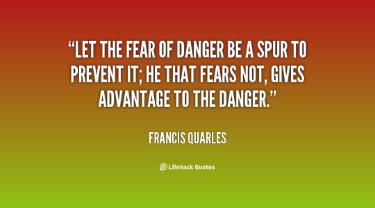 Let the fear of danger be a spur to prevent it; he that fears not, gives advantage to the danger. Francis Quarles