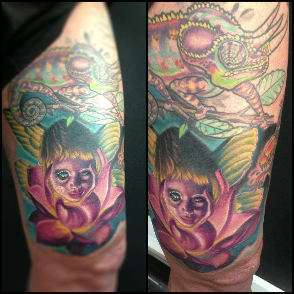 Little Pixie Fairy With Lotus Flower And Chameleon Tattoo On Thigh By Fabz