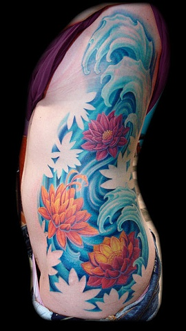 Lotus Flowers In Water Tattoo On Girl Left Side Rib