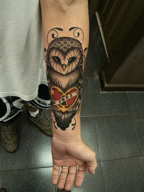 Memorial Owl With Heart Lock Tattoo On Left Wrist
